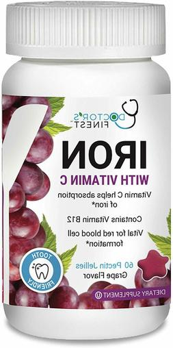 Yum-V's Complete Iron with Vitamin C Adult Jellies, Grape, 6