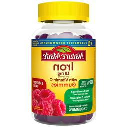 Nature Made Iron Gummies 18 mg with Vitamin C, 72 ct for Red