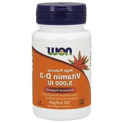 NOW High Potency Vitamin D-3 5000 IU 120 Softgels Structural